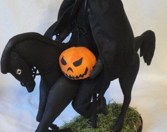 MADE TO ORDER Halloween Doll, gothic decor, Black Horse, with Rider, hand made scary pumpkin, shelf sitter, centerpiece decoration.