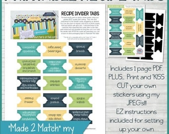 RECIPE Divider Tabs, Category Sticker PRINTABLE - Instant Download