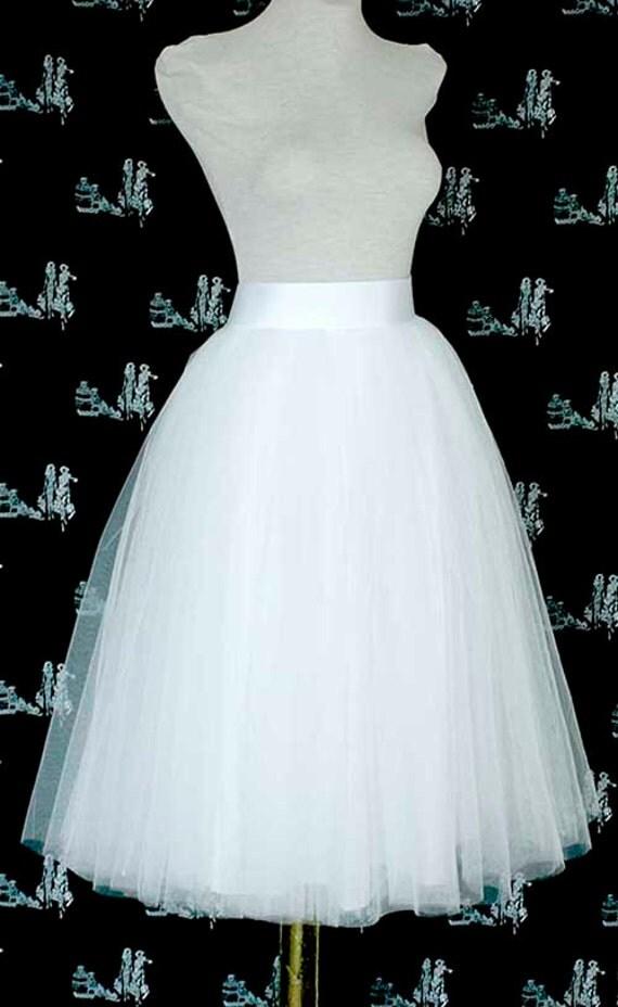 White tulle skirt wedding tulle skirt tea length tulle for Tea length wedding dress tulle skirt