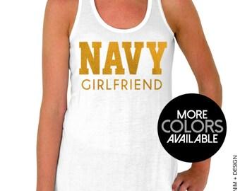 Navy Girlfriend Tank Top - Flowy Tank Top - Gold Ink
