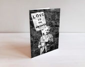Valentines Day Card - Love is the Answer Banksy Card - 5x7 Blank Card - Romantic Black and White Card for Boyfriend Husband Wife Girlfriend