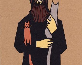 Rasputin Holding Cats - screen print with glowing eyes