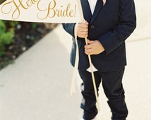 Here Comes The Bride Sign | Handcrafted Wedding Banner Made To Order Large Pennant Flag Wedding Sign Flower Girl Ring Bearer Classic Script