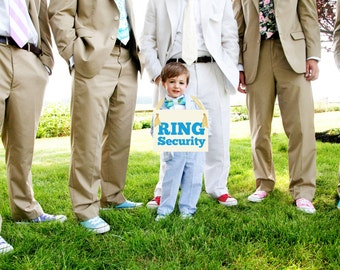 Ring Security Funny Wedding Sign   Hanging Ring Bearer Banner   Paper Graphic w/ Ribbon   Handmade in USA   Bold Block Font 1050 BW