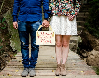 Mutual Weirdness Forever Wedding Sign | Handcrafted Banner for Bride & Groom | Couple Engagement Announcement Bridal Portraits Photo Prop
