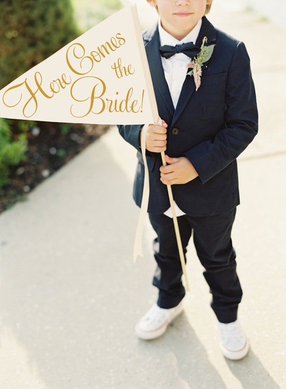 Here Comes The Bride Sign | Handcrafted Wedding Banner Large Pennant Flag Wedding Sign Flower Girl Ring Bearer Classic Script 1001