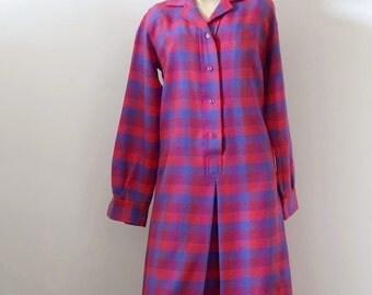 1970s Shirt Dress - vintage plaid wool shift dress - fall fashion