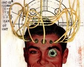 "Original Collage Mixed Media on Wood ""Cyborg"" - Surreal Pop Surrealism Pipe Men Retro Weird Vintage Robot Cyborg Art iwearpartyhats"