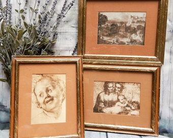 Vintage Sepia~3 Picture Set~Famous Art~A windsor Product~ Framed Matted Pictures