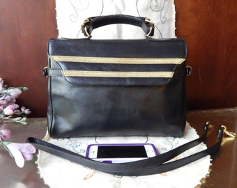RARE Vintage MONDI~Black Leather Small Brief~Chic~ Made In ITALY~Brass Buckle Accents