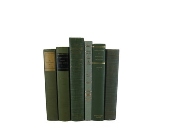 Green Book Set , Decorative Books , Shabby Chic Decor , Vintage Books , Home Decor , Set of Books , Decades of Vintage