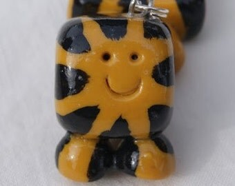 Smiling Tiger Cube-shape Critter necklace charm, polymer clay