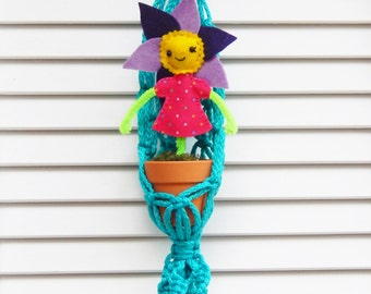 Macrame Plant Holder with Flower Girl #3 Let's Grow Together