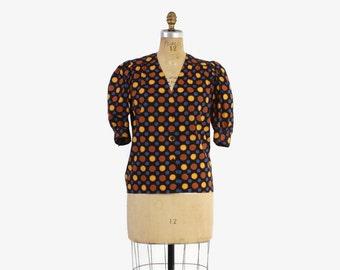 Vintage 80s GIVENCHY TOP / 1980s Polka Dot Cotton puff Sleeve Designer Blouse L