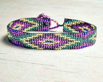 Bead Woven Bracelet - Womens Bracelet - Boho Bracelet - Beaded Jewelry - Gifts For Her - Gifts Under 25