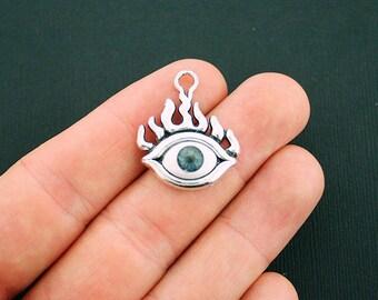 4 Eye Charms Antique Silver Tone and Enamel Third Eye Flaming Eye- SC5647