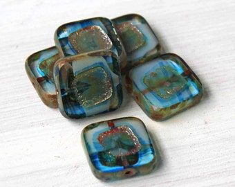 6 Czech Glass Beads 14mm Squares Blue Tones - CB070