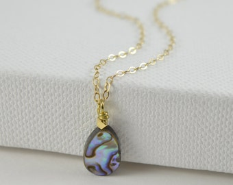 Abalone Drop Necklace, shell necklace, teardrop, everyday, abalone shell on a plated chain 14k gold filled or sterling silver chain