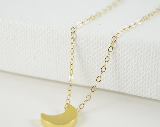 Crescent Moon Minimal Necklace, Gold, Silver, Rose Gold Moon, Necklace, Jewelry, Simple, Necklace, Modern, Cute, Necklace