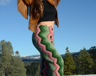 Crochet Pants Pink and Green Chevrons