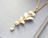 Gold Orchid Necklace, Bridesmaids Gift, Gold Flower Pendant, Cascading Flowers, Nickel Free, Bridal Jewelry Modern Wedding Accessories