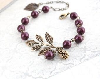 Branch Bracelet Berry Maroon Pine cone Acorn Charm Bracelet Bridesmaids Gift Burgundy Pearl Bracelet Adjustable Size Autumn Woodland Wedding