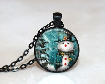 Christmas Necklace Christmas Jewelry Glass Tile Necklace Snowman Jewelry SnowmanNecklace Glass Tile Jewelry Silver Jewelry Black Jewelry