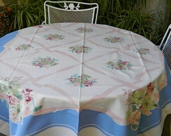 X-Lg Vintage FRENCH BLUE Floral TABLECLOTH Pink Ribbons Bridal Shower