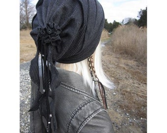 BOHO Clothing Women's Knit Hats Black Slouch Beanies lightweight Striped Cotton Cashmere Blend Rose Rag Beaded Leather Wrap Tie Back A1796