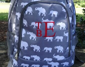 Personalized  Girls ELEPHANT Backpack  GRAY Elephant Alabama Backpack