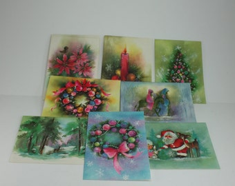 Vintage Christmas Cards Glittered Parchment Cottage Chic Unused With Envelopes In Original Box