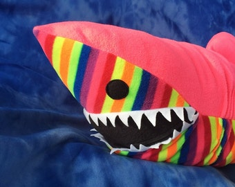 IN STOCK Giant Plush Neon Pink Rainbow Stuffed Shark Sea Animal