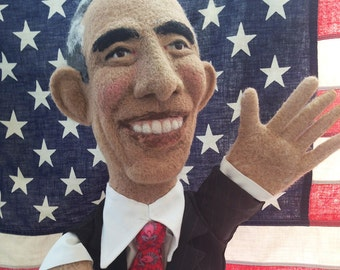 President Barack Obama Needle Felted Puppet