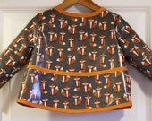 Long Sleeve Toddler Baby Bib Kids Art Smock in Gray with Fabulous Foxes