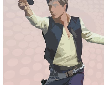 "Han Solo - Star Wars A New Hope - Star Wars poster print - 13""x19"" or 24""x36"" - Star Wars fan gift - StarWars - Han Solo poster art print"