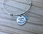"Enjoy the Journey Bracelet- Hand-Stamped ""enjoy the journey"" Bracelet with an accent bead in your choice of colors"