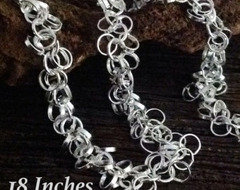 Sterling Silver Cluster Rolo Chain  21 Inches  FABULOUS and GORGEOUS  - CH16-21in