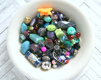 kitchen sink bead soup mix 4oz,  glass, plastic, silver, brass, cabochons, colorful