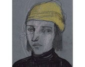 Man portrait drawing art original illustration people figurative