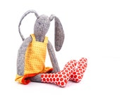 Christmas gift - stuffed gray bunny doll -knitted pure silk rabbit in yellow dotted dress  & red Polka Dots socks -timo handmade fabric doll