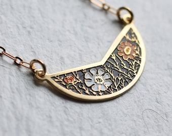 Enamel Folk Necklace ... Vintage Flower Orange Black Enamel Gold