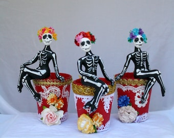 Sugar Skulls on Shot glasses Hand Sculpted in Clay