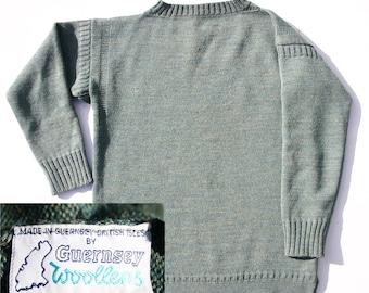 Vintage Guernsey Sweater 1980s Blue Lovat