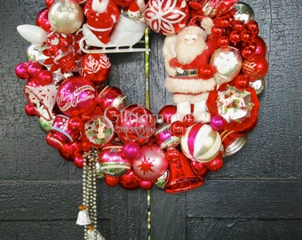 Vintage Ornament Wreath: It's RED! - Red+White - Santa - Sleigh - Holiday Wall Decor