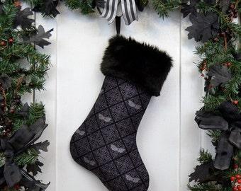 Gothic Bats Damask Christmas Stocking Black and Gray