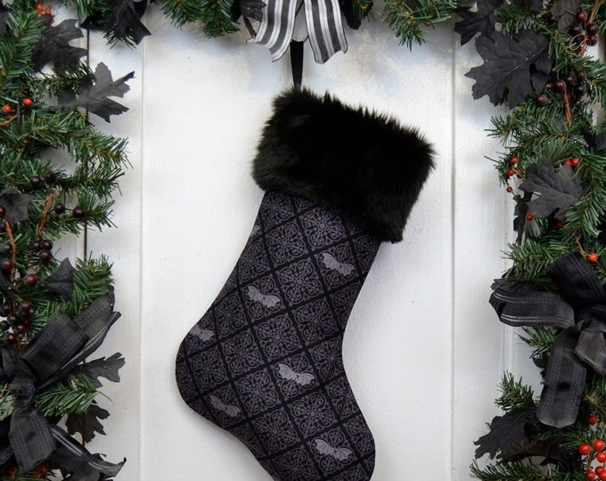 Gothic Bats Damask Christmas Stocking Black and Gray