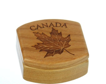 "Canada Wooden Box, Solid Cherry, Pattern MS23 Canadian Maple Leaf, 1-3/4""L x 1-7/8""W x 7/8""D, Paul Szewc"