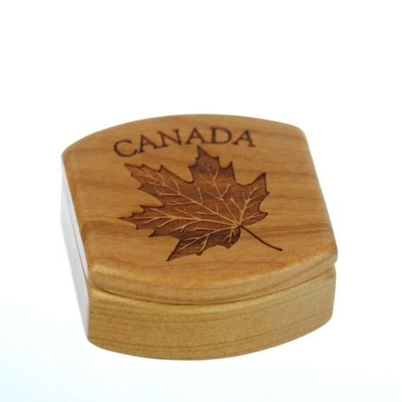 "Canada Wooden Box, Solid Cherry, Pattern MS23 Canadian Maple Leaf, 1-3/4""L x 1-7/8""W x 7/8""D, Paul Szewc"