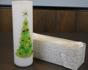 Vintage Glass Cylinder Christmas Candle - Midcentury