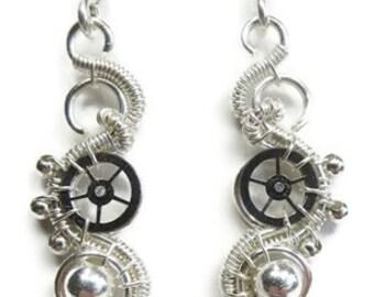 Sterling Silver Woven Steampunk Earrings - Steampunk Jewelry